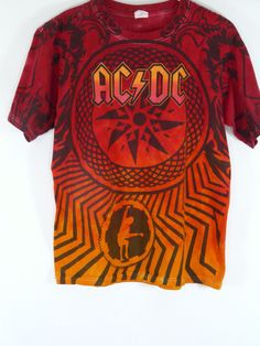 AC/DC Black Ice World Tour 2010 Tie Dye Short Sleeve Cotton T Shirt Size Medium #Anvil #CrewNeck