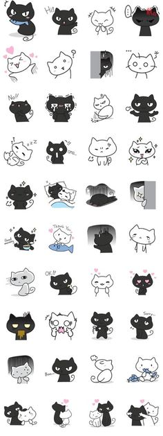 Discover thousands of images about Kawaii panda poses. Line Sticker, Kawaii Drawings, Cat Drawing, Cute Stickers, Emoji Stickers, Doodle Art, Doodle Ideas, Cat Art, Planner Stickers