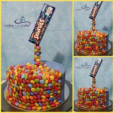 DEFYING GRAVITY / SMARTIES CAKE  We delivered this banana mud cake yesterday. Partially covered in Smarties pouring from the box suspended over top of the cake. This was a fun cake to do!  www.cakesbythelake.com.au