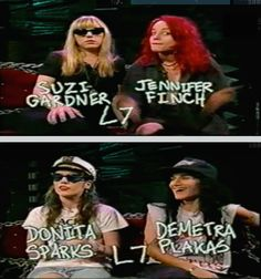 L7 being interviewed on MTV's Headbangers Ball, 1992.  —  with Jennifer Finch, Suzi Gardner, Dee Plakas and Donita Sparks