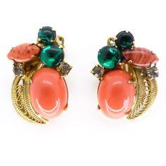 Vintage 1950s Green & Orange Glass 'Bug' Clip On Earrings | Clarice Jewellery | Vintage Jewellery | Vintage Costume Jewellery