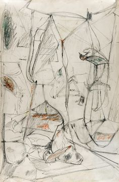 """""""Untitled"""", 1946-1947, Arshile Gorky, American, b. Armenia (1904-1948), graphite and crayon on paper, 20 x 13 in. Museum purchase with funds from the Dillard Paper Company for the Dillard Collection, 1967. 1967.1502"""