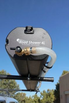 Road Shower portable camping shower shown mounted on roof rack Expedition Trailer, Overland Trailer, Expedition Vehicle, Truck Camping, Van Camping, Camping Gear, Camping Trailers, Hiking Gear, Nissan Patrol