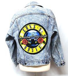 Guns n Roses Appliques on Vintage Levi's Jacket Made by Julia Takai #Handmade #RockRoll