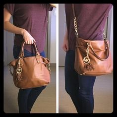 Michael Kors purse Cognac leather with gold hardware. Can be used as a cross body bag or hand held. Excellent condition. Michael Kors Bags Crossbody Bags