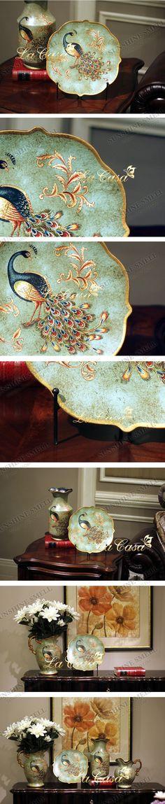 欧式陶瓷绿地孔雀尖角摆盘 手绘陶瓷家居摆件-淘宝网
