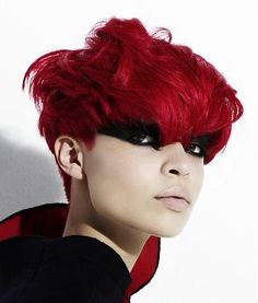 A short red straight coloured Festivals Womens hairstyle by Sacco www.ukhairdressers.com