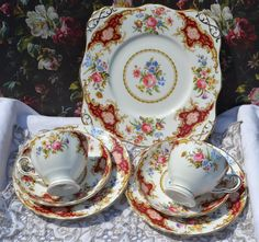 Vintage bone china tea trio and serving plate for cakes or sandwiches made by English china company Tuscan, likely manufacture date 1940s,