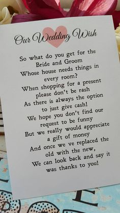 Wedding Money Poem x 50 by LittleMagicPeanut on Etsy – Wedding Gifts Wedding Gift Poem, Wedding Wishes, Our Wedding, Wedding Venues, Dream Wedding, Trendy Wedding, Wedding Rings, Rustic Wedding, Wedding Quotes
