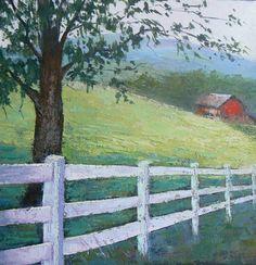 Rural Landscape Farm Painting Original Oil by CarolSchiffStudio, $395.95