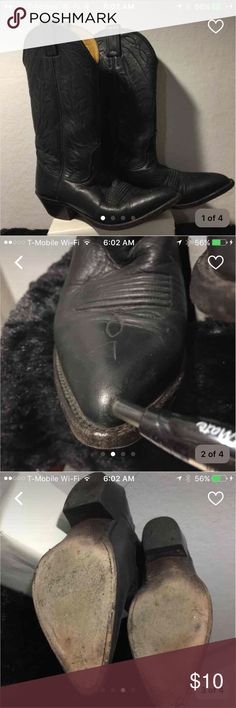 """NOCONA Black Leather  i.e. out Boot size 6 General wear, small scuff on front toe. Light wear on heels.  Heel height 1 1/2"""".  Height of boot from ground 12 3:4"""" Nocona Shoes Heeled Boots"""