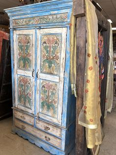 Bohemian Vintage Floral Birds Carved Blue Cabinet Chest Rustic Armoire w/Drawers Farmhouse Country Shabby Chic Boutique Resort Vintage Bohemian, Vintage Wood, Vintage Floral, Antique Armoire, Antique Cabinets, Rustic Blue, Rustic Style, Cabinet Furniture, Rustic Furniture