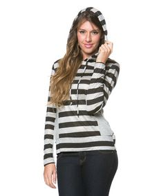 Loving this Gray & Charcoal Stripe Hooded Top - Plus on #zulily! #zulilyfinds
