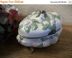 Dresser Top Jewelry Box White Ceramic with  by SpringJewelryThings