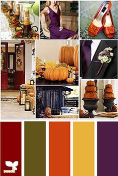 Wedding color palette  burgandy olive burnt orange corn maize yellow? The eggplant color would be ditched of course.     Need to find a way to work in my tiger lily orange; this may be it.