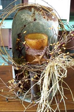 Old scoop/battery timer candle...grapevine and pip berries  $35