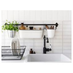 Small Kitchen Designs IKEA - FINTORP Condiment stand white, black - Helps free up space on your countertop while keeping oil and seasonings close at hand. Can be hung on FINTORP rail using FINTORP hooks, or kept freestanding on the table or windowsill. Small Apartment Kitchen, Small Kitchen Storage, Small Apartment Decorating, Decorating Small Spaces, Kitchen Small, Interior Decorating, Small Storage, Kitchen Sinks, Decorating Kitchen