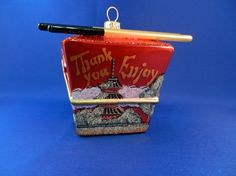 Chinese Take Out Box. European blown glass Christmas ornament found on Vintage Treasures Ornament