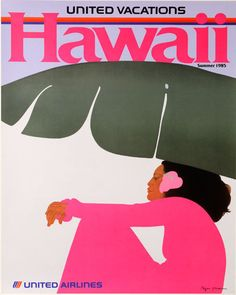 HAWAII Vintage Poster for United Airlines by Hopper #Vintage