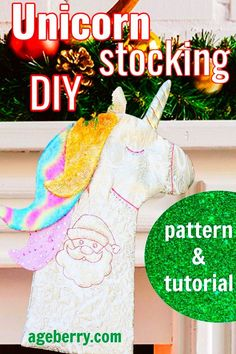 Learn how to make DIY Christmas stocking with this step-by-step sewing tutorial. There is also a printable sewing pattern. The Unicorn stocking is an easy sewing project. In this tutorial, you will find detailed and hopefully easy-to-implement instructions on how to make a DIY Christmas stocking. But I decided to turn a classic stocking into a Unicorn stocking. I think Christmas stockings can be anything you want, and it all depends on your imagination. Christmas Sewing Projects, Hand Sewing Projects, Sewing Tutorials, Diy Christmas, Holiday Crafts, Sewing Ideas, Sewing For Dummies, Sewing Basics, Christmas Stocking Pattern