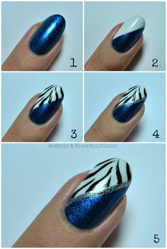 Zebra Swimsuit Nail Art Tutorial - love your nails (blue, black, white and silver sparkling nail art designs)