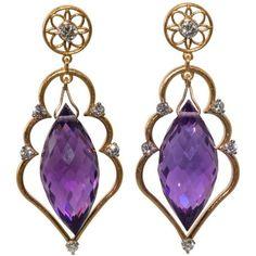 Preowned Amethyst Diamond Gold Drop Earrings ($3,175) ❤