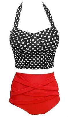 Polka Dot Print High-Waisted Bikini