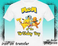 f8122c9a SET Pokemon Iron on Transfer Shirt-Printable Birthday Pikachu Pokemon Shirt  for family -Pokemon Pikachu party decoration-DIGITAL IMAGE