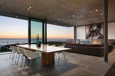 Gorgeous floors, fishbowl like living area, floor to ceiling glass - Pearl Bay Residence by Gavin Maddock Design Studio
