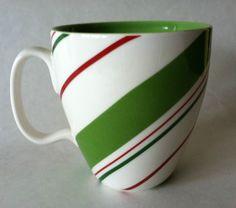 Starbucks Christmas Red Green Striped Coffee Mug 2007 Gift Idea #Starbucks