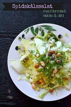 Spidskålssalat med fennikel, æble  dild Du skal bruge (til 2 personer) 1/4 spidskål 1/2 æble 1/4 fennikel en håndfuld frisk dild  Drys: 1 lille håndfuld frisk dild Lidt peanuts og salte græskarkerner