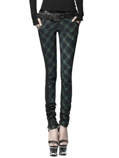 Shop Skinny Leg Pants - Green Statement Checkered/Plaid Polyester Skinny Leg Pant online. Discover unique designers fashion at StyleWe.com.