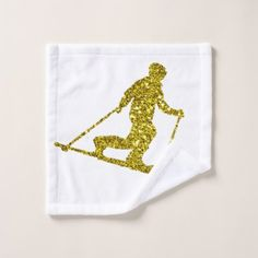 Golden Telemark skiing Wash Cloth - home gifts ideas decor special unique custom individual customized individualized