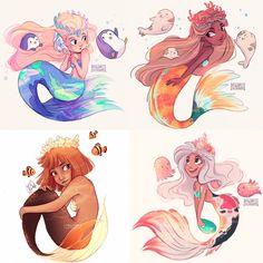 Anime Mermaid, Cute Mermaid, Mermaid Cartoon, Dark Mermaid, Mermaid Tails, Mermaid Artwork, Mermaid Drawings, Drawings Of Mermaids, Mermaid Paintings
