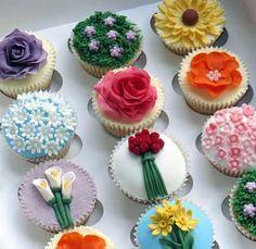 Garden #Cupcakes  http://www.thecupcakeblog.com/wp-content/uploads/2011/06/Beautiful-Flower-Garden-Cupcake-Assortment.jpg