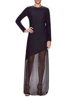 Asymmetrical Contrast Floor Length Dress from Designer Eveningwear Feat. Monique Lhuillier on Gilt