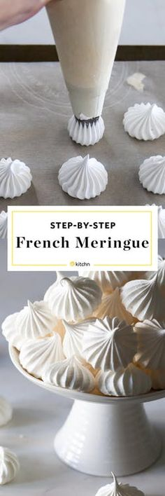 cool How to Make a French Meringue Cookies Recipe. So simple, easy, and pure, meringues are the lightest, almost cloud-like cookies and pastries . French Meringue Cookies Recipe, Baked Meringue, Easy Meringue Recipe, Meringue Recipe Without Cream Of Tartar, French Cookies, Meringue Desserts, Meringue Kisses, Meringue Cake, Cupcakes