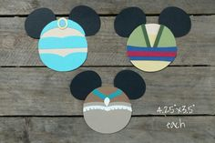 Disney Princess Themed Scrapbooking Embellishments or Window Decorations: Jasmine, Mulan & Pocahontas Mickey Heads by ScrapWithMeToo on Etsy
