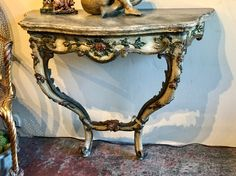 """Painted Italian Wall Mounted Console Table   36"""" Wide x 18"""" Deep x 31"""" High   $2800  Clutter Antiques 5015 Lovers Lane Dallas, TX 75209"""