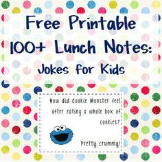 Please take a look below for links to the sites I used to find the jokes and links to some other really cute lunch note printables.