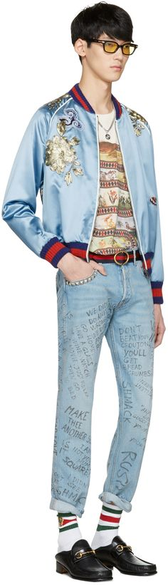 Gucci: Blue Embroidered Silk Bomber Jacket   SSENSE
