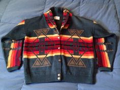 *Vintage Pendleton Unisex Knit Cardigan M Indian USA Navajo Wool Bright Boho B4 #Pendleton #Cardigan