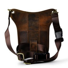 Men's Genuine Leather Messenger Pack Riding Travel Drop Leg Fanny Waist Pack