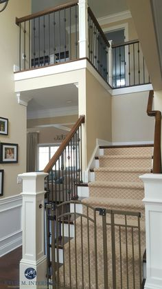 Sherwin Williams Kilim Beige in stairwell and hallway with metal, wood railing and carpet runner. Kylie M Interiors E-design