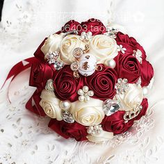 Burgundy Mixed Roses Artificial Satin Wedding Bridal Bouquet Bride Hand Flower - Ideas of Wedding Bouquets Gold Bouquet, Broschen Bouquets, Burgundy Bouquet, Bridal Brooch Bouquet, Hand Flowers, Bridal Flowers, Flower Bouquet Wedding, Rose Wedding, Garden Wedding