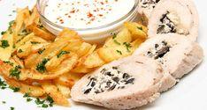 Olívás-fetás csirkemelltekercs Hummus, Camembert Cheese, Brunch, Food And Drink, Meals, Ethnic Recipes, Chicken, Meal, Yemek