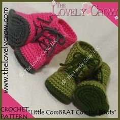 Quartered Heart Crochet: New Crochet Baby Combat Boots Pattern Finally Available From My Favorite Pattern Designer. Crochet Baby Booties, Crochet Shoes, Crochet Slippers, Crochet Yarn, Free Crochet, Crochet Flowers, Crochet Baby Blanket Beginner, Baby Knitting, Crochet Designs