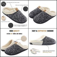 b91484334 Men's Cozy Fuzzy Wool Plush Fleece Memory Foam Clog Winter House Shoes Soft  New #fashion