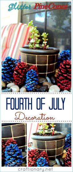 Patriotic glitter pinecones