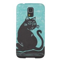 Black Cat Turquoise Samsung Galaxy S5 Case; Abigail Davidson Art; ArtisanAbigail at Zazzle